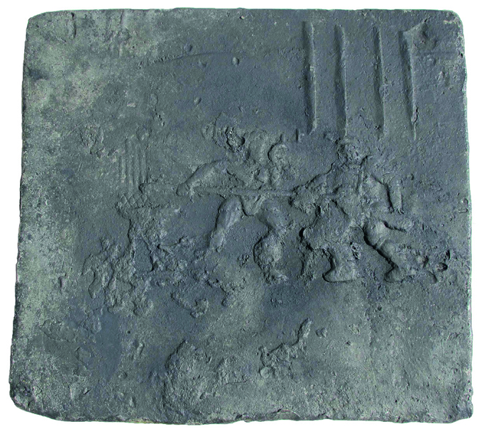 Flat ingot most likely from South Gallia with scene from gladiator fight from the same shipwreck as Fig. 02
